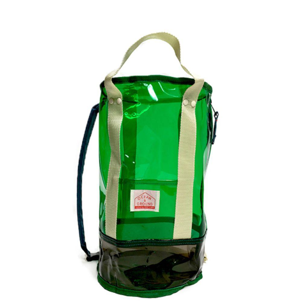 日本 OCEAN&GROUND - 透明PVC防水圓筒包(側背/手提)-綠 (φ20x35cm)