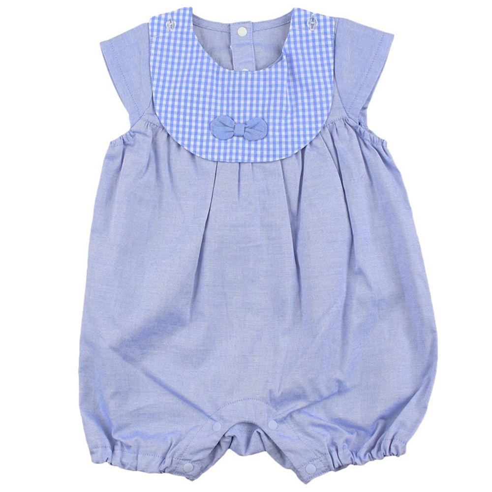 akachan honpo - 短袖平織連身衣-藍色