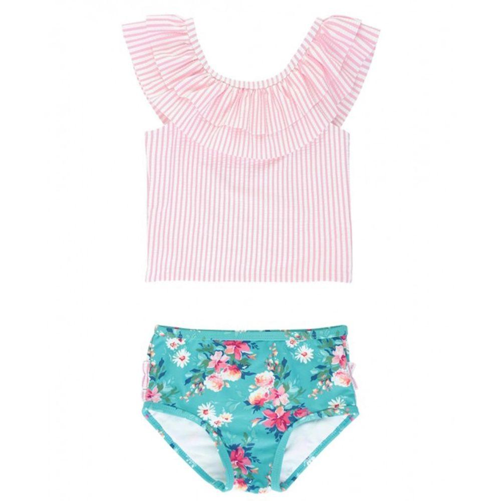 美國 RuffleButts - 小女童UPF 50+防曬兩件式無袖泳裝-夏日粉甜心