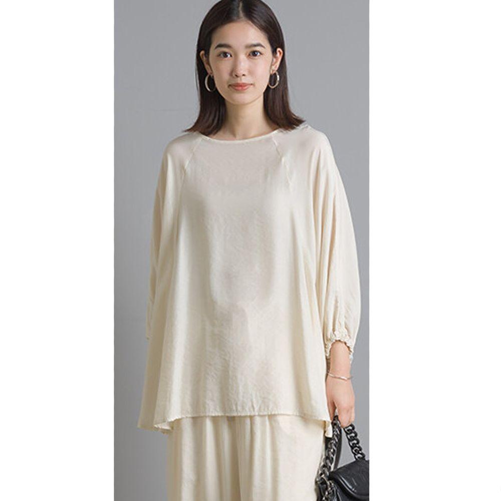 日本女裝代購 - 仙氣飄飄光澤感七分袖上衣-象牙白 (Free size)