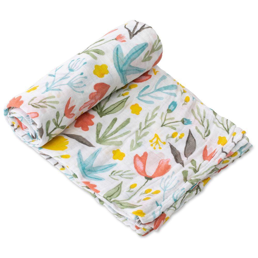 美國 Little Unicorn - 純棉紗布巾單入組-花花世界