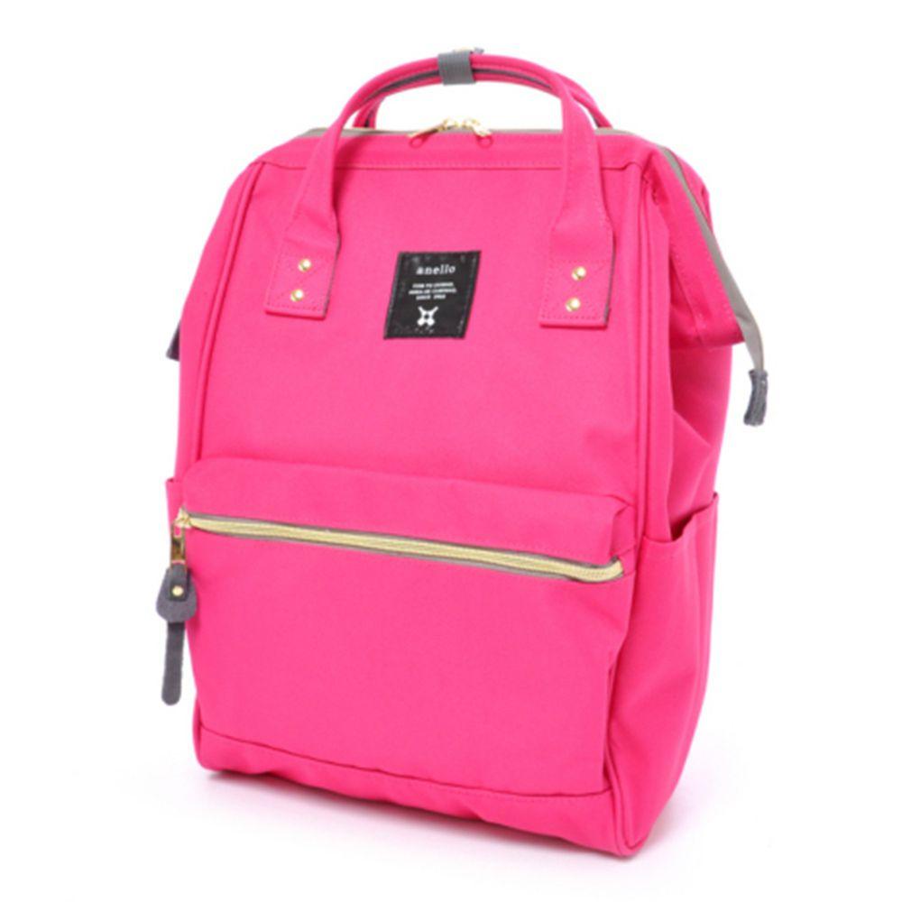 日本 Anello - 日本大開口牛津布後背包-Regular大尺寸-SPI桃紅色