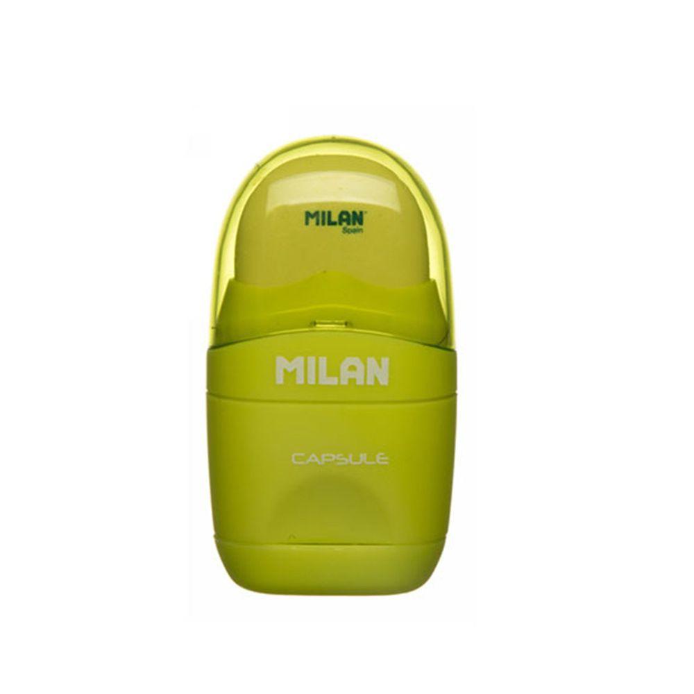 MILAN - 太空膠囊橡皮擦+削筆器_螢光系列_芥末綠