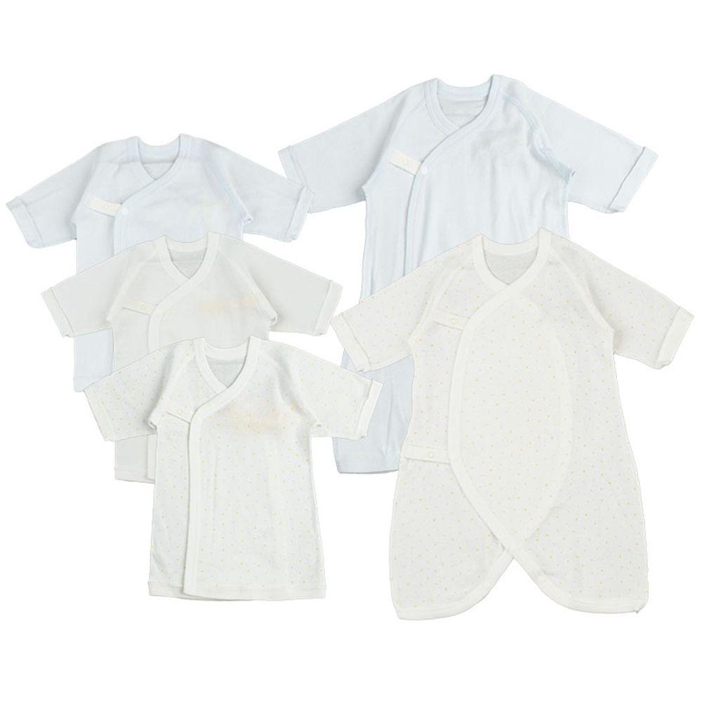 akachan honpo - 新生兒內衣5件組 釦子款-點點-淺藍色 (50~60cm)