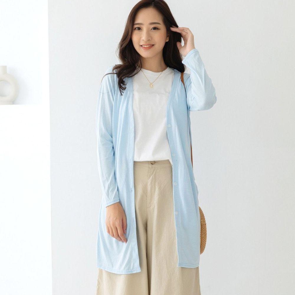 貝柔 Peilou - (新上市)日本水潤白抗UV保濕防曬長版罩衫-V領長版-水晶藍