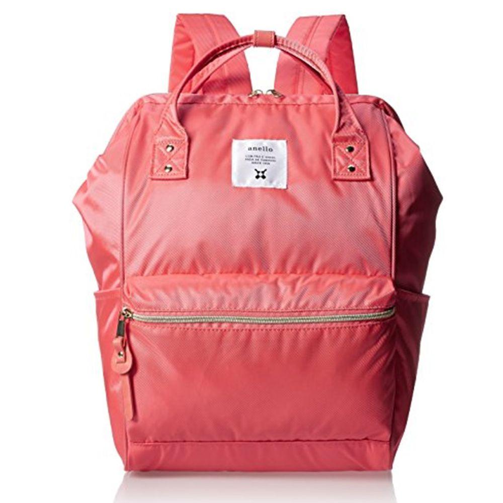 日本 Anello - 日本大開口光澤亮面後背包-Regular大尺寸-SPI桃紅色
