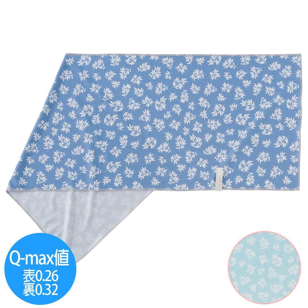 日本小泉 - UV cut 90% 接觸冷感 水涼感巾(附收納袋)-清新樹葉-天藍 (30x90cm)