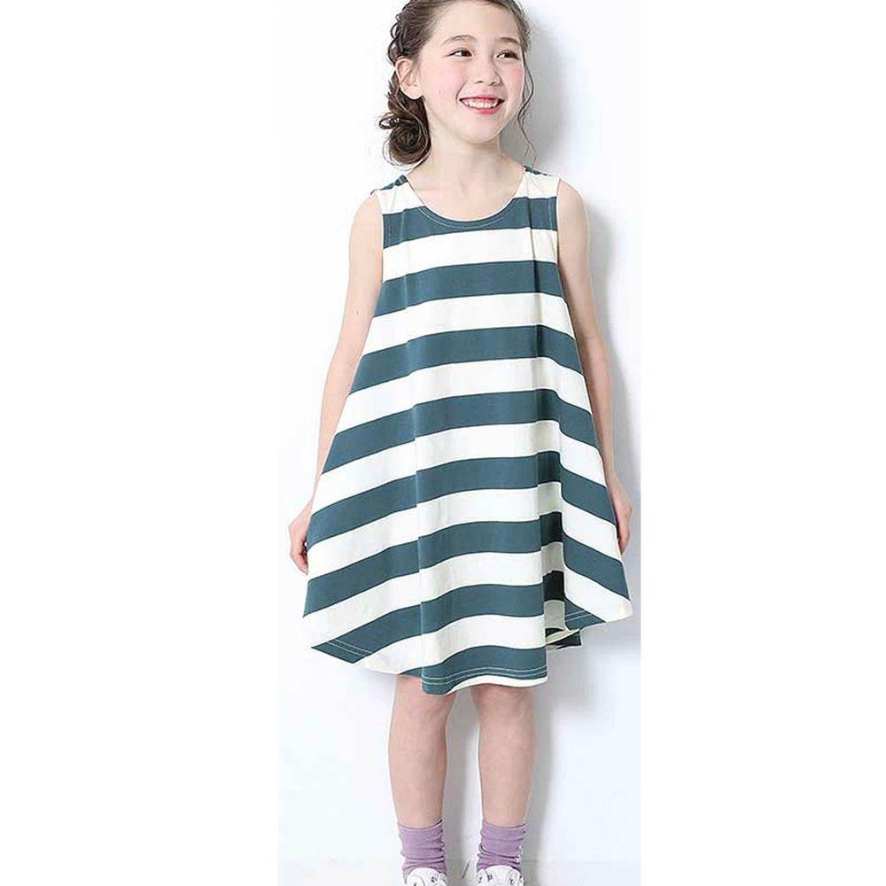 日本 devirock - 純棉傘狀條紋無袖洋裝/親子裝-灰藍