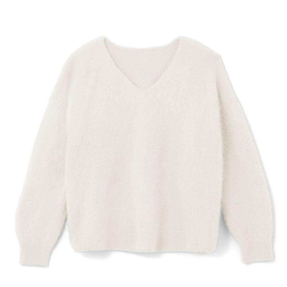 日本 GRL - 明星聯名款 柔軟刷毛V領毛衣-天使米
