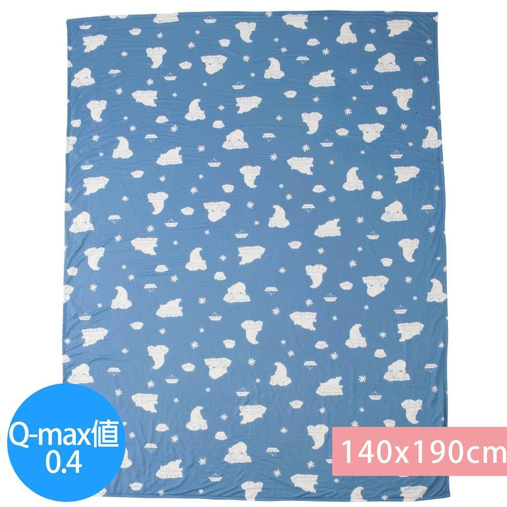 日本小泉 - 節電對策冷感薄毯-北極熊21-水藍 (140x190cm)