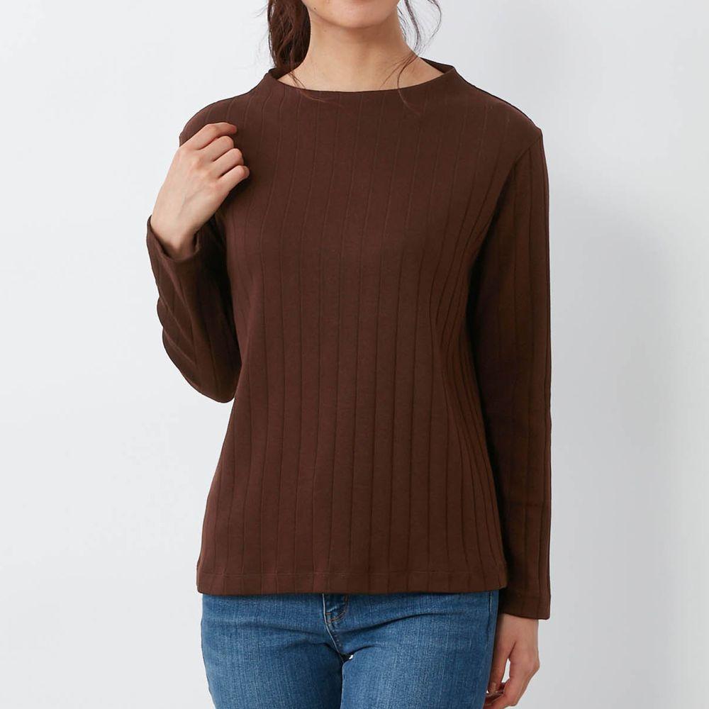 日本千趣會 - 100%棉 直條紋長袖發熱上衣-深咖啡