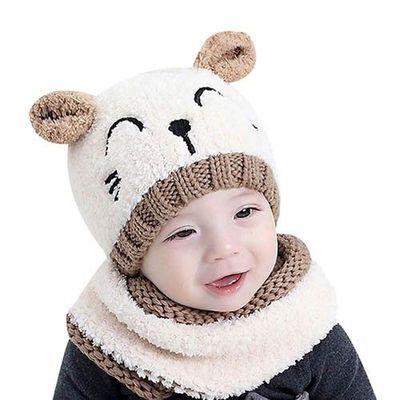 貓咪笑臉小耳朵毛帽圍脖兩件組-白X褐 (45-50cm)