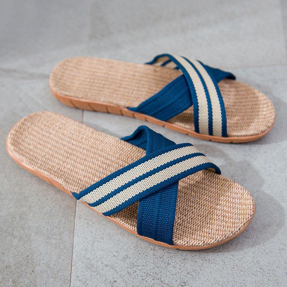 亞麻室內拖鞋-X型-海藍色