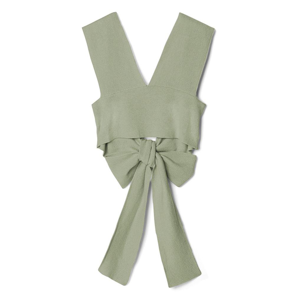 日本 GRL - 後大蝴蝶結綁帶層次穿搭針織背心-青春綠