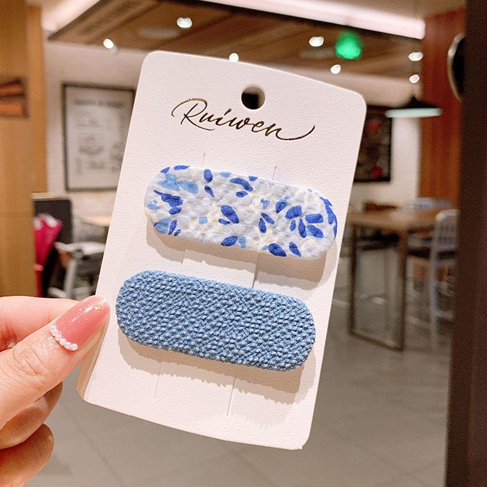 甜美印花布藝髮夾2件組-藍色