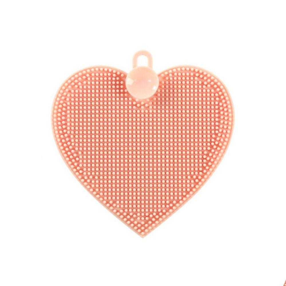 溫柔去污矽膠清潔刷-愛心-橘粉色