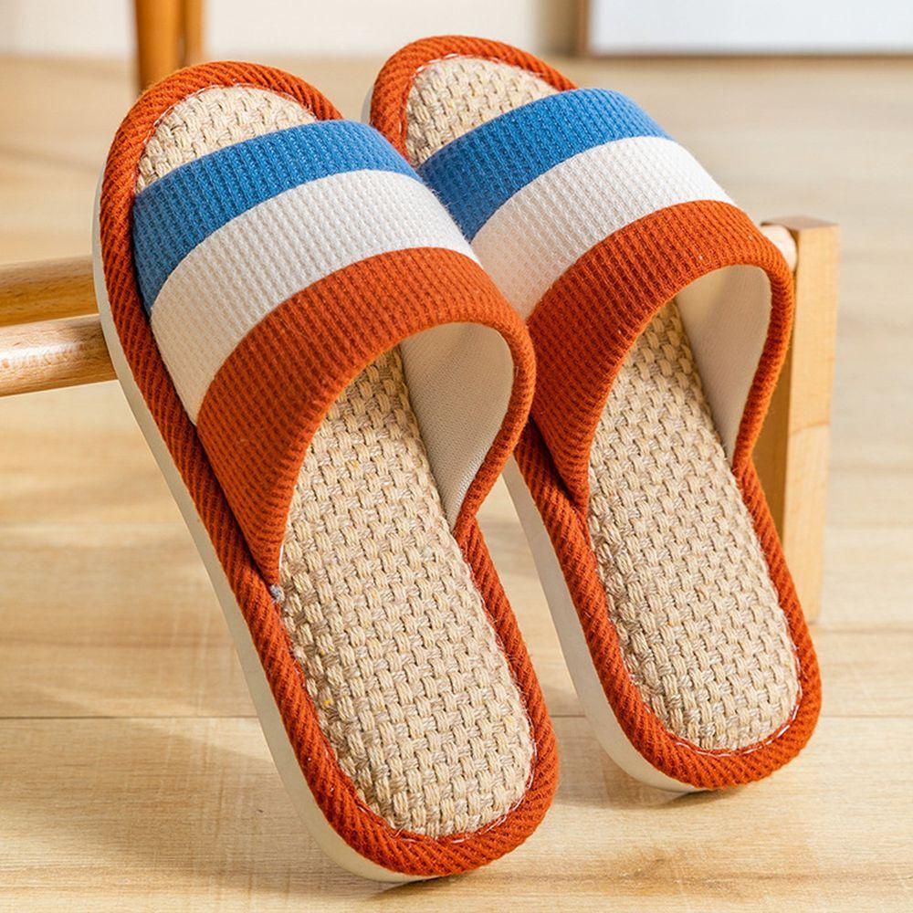 亞麻室內拖鞋-拼色-磚紅色