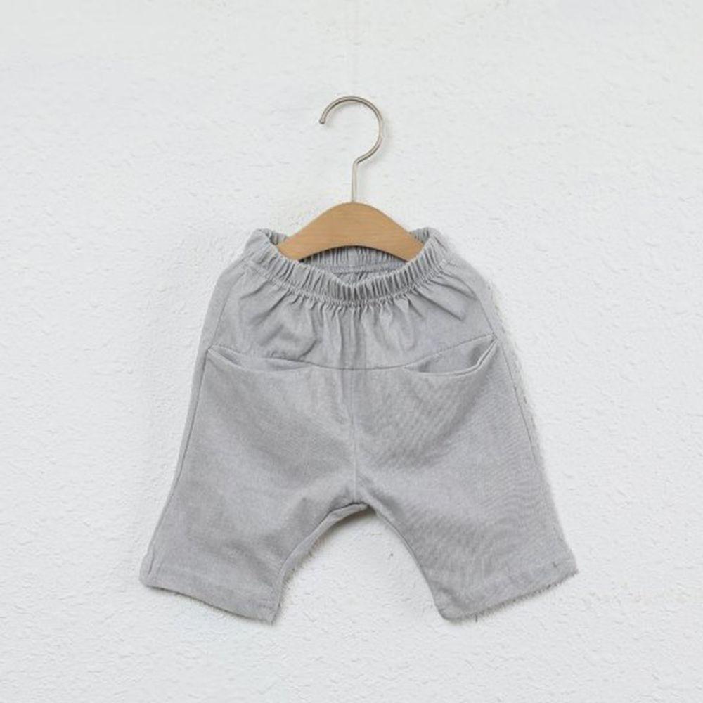 韓國製 - 平口袋純棉7分褲-淺灰