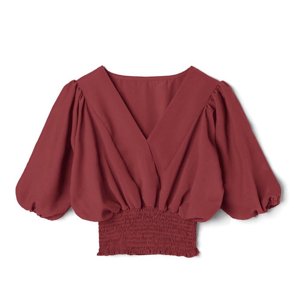 日本 GRL - V領五分袖縮腰上衣-磚橘紅