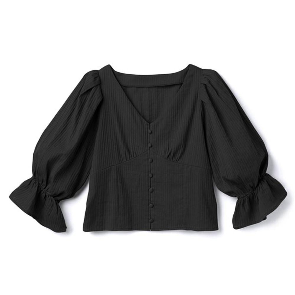 日本 GRL - V領排釦立體羅紋糖果五分袖上衣-時尚黑