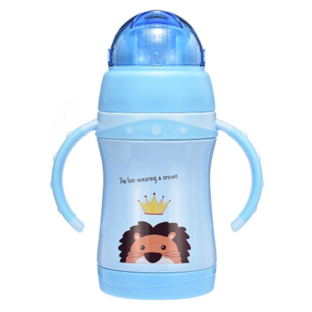 BABY TALK - 可愛動物不鏽鋼2用水杯-獅大王-藍色-260ml