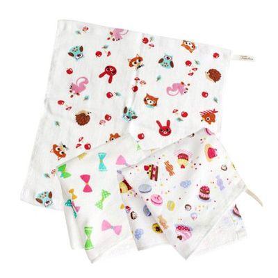 小女孩最愛超值方巾三件組-小點心/蝴蝶結/小動物 (34x34cm)