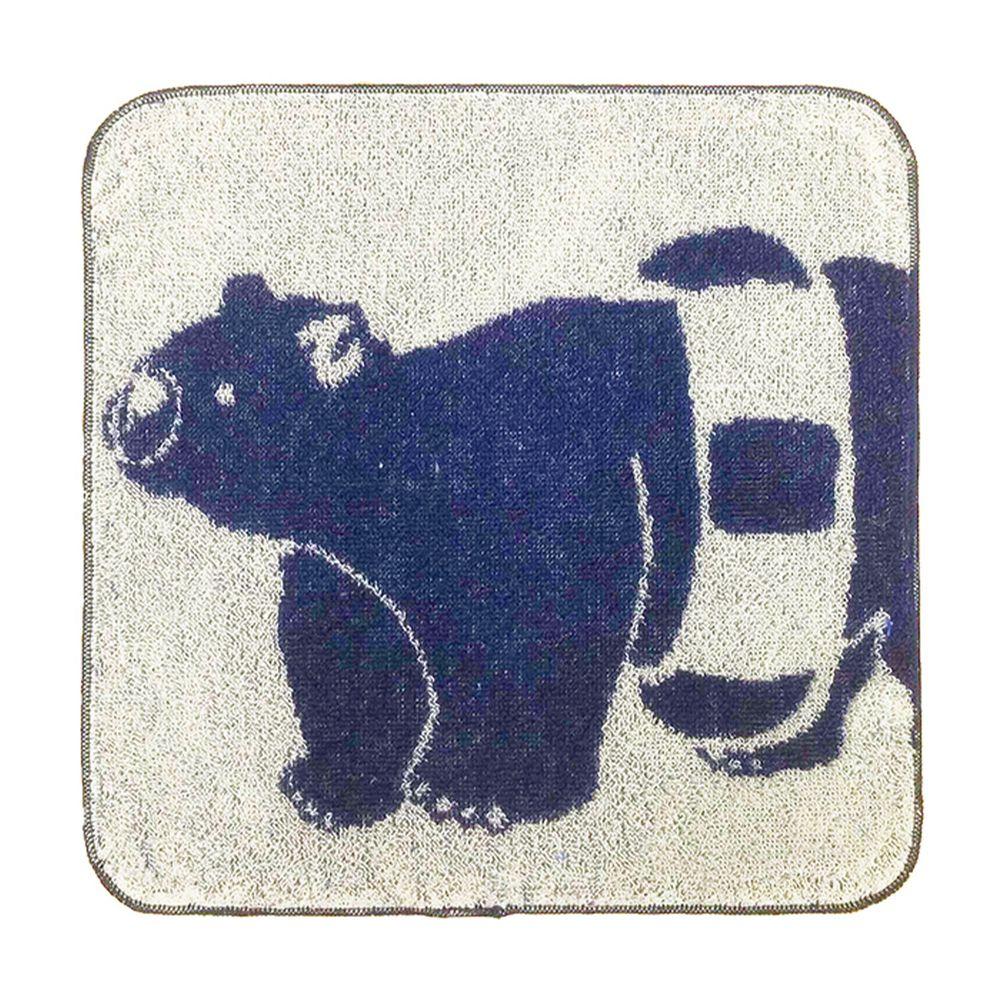 日本弘雅堂 - 日本製 接觸涼感速乾手帕-北極熊游泳圈-深藍 (22x22cm)