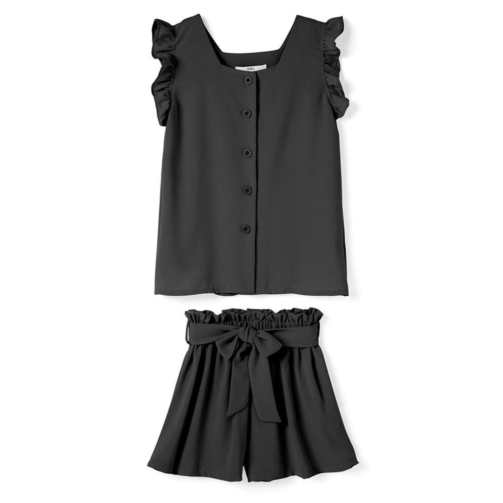 日本 GRL - 荷葉滾邊無袖襯衫上衣X綁帶短褲套裝-時尚黑