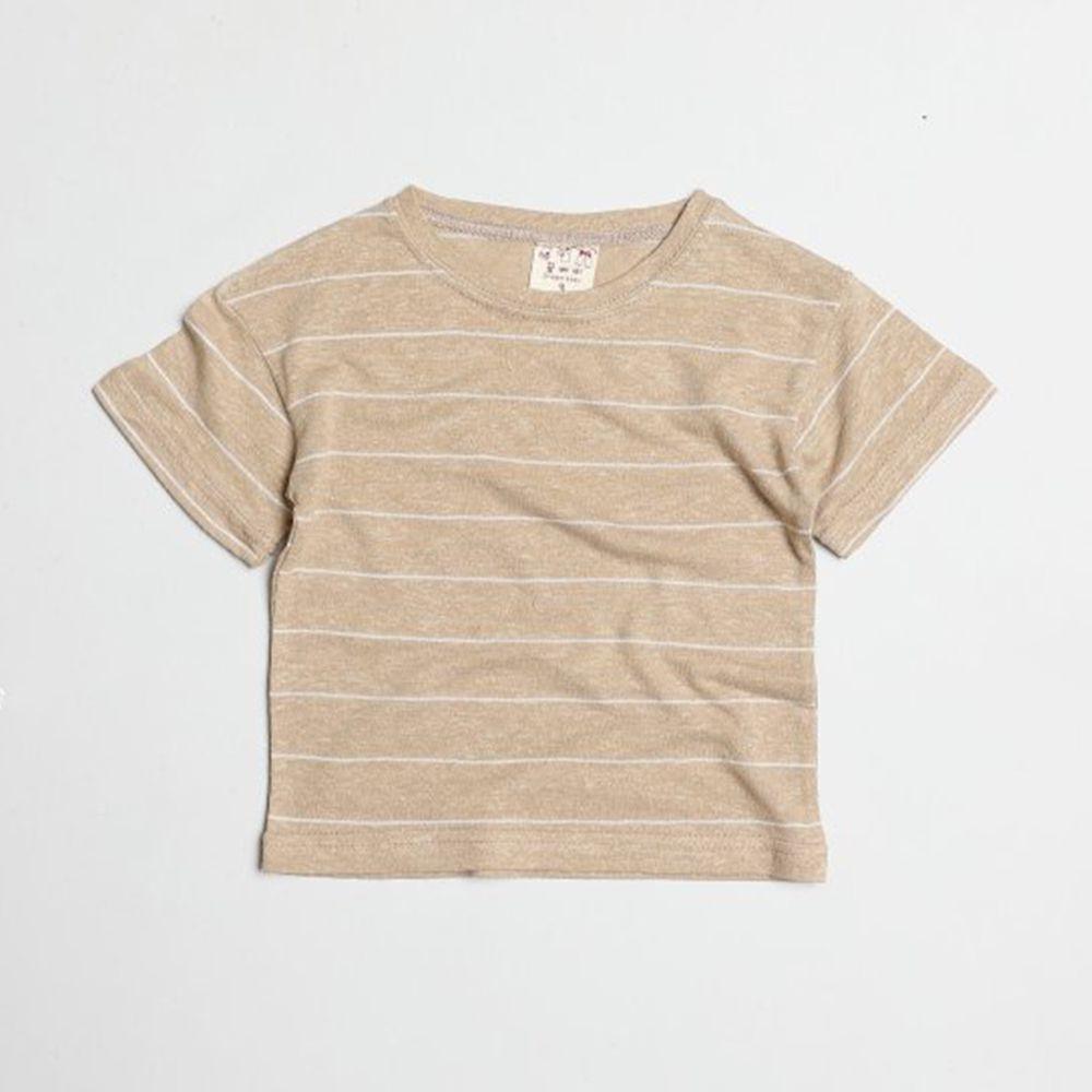 韓國製 - 棉麻簡約條紋T-杏