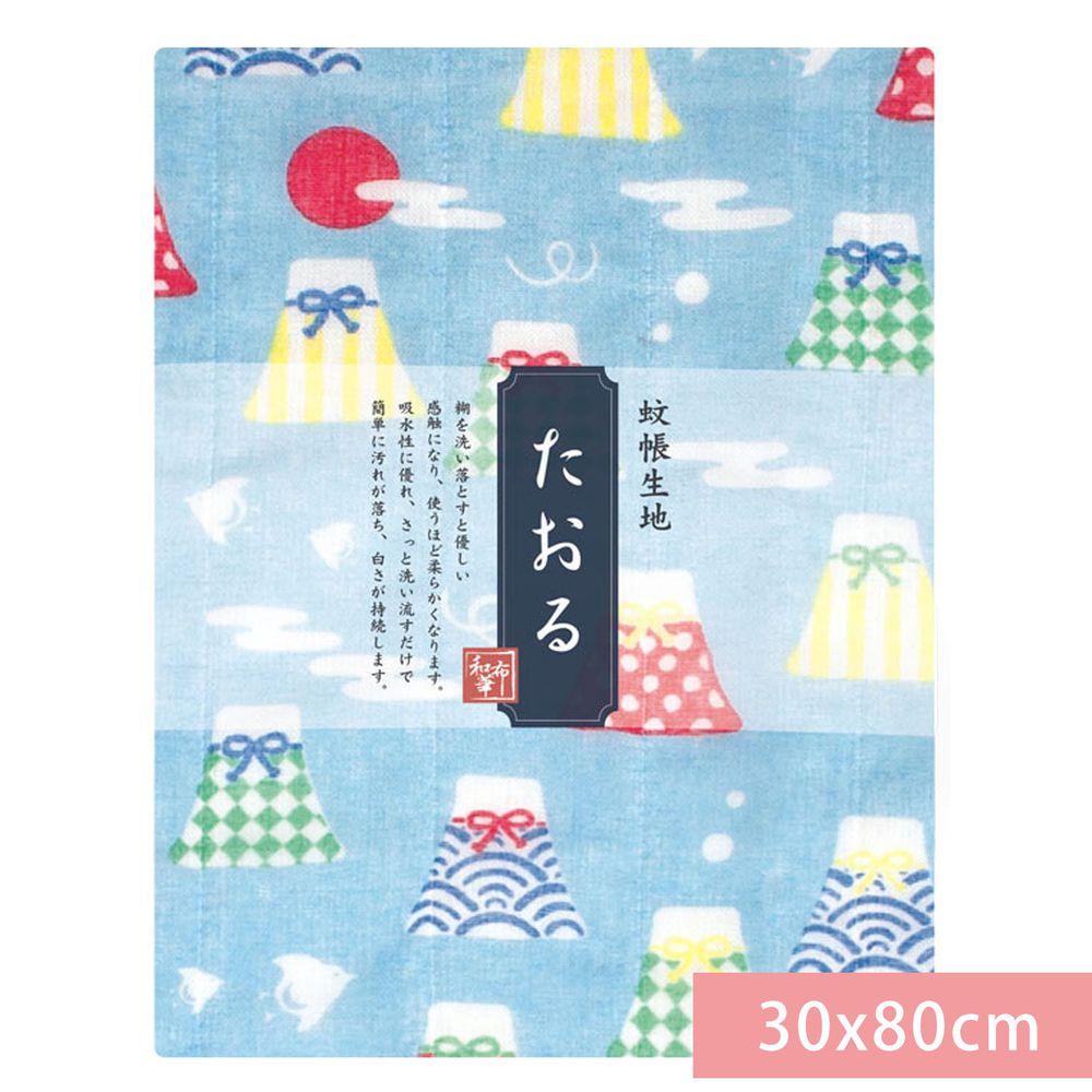 日本代購 - 【和布華】日本製奈良五重紗 長毛巾-富士山御守-水藍 (30x80cm)