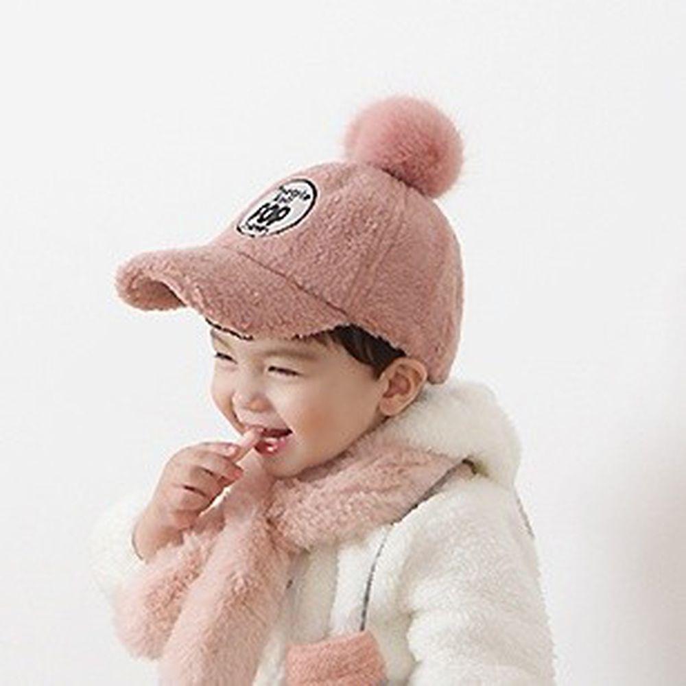 韓國 Babyblee - POP搖粒絨棒球帽-淺粉紅 (FREE)