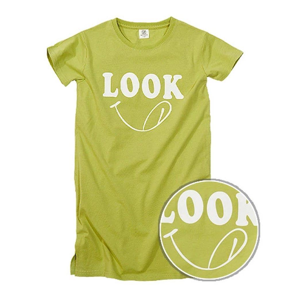 日本 devirock - 純棉印花短袖長版洋裝-LOOK-綠