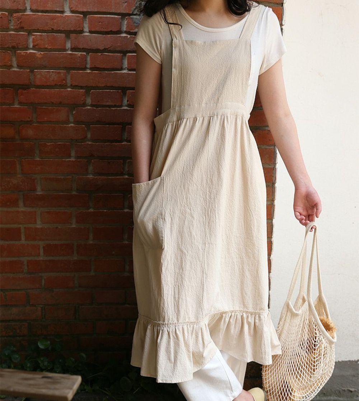 韓系荷葉裙擺花邊圍裙-米白色