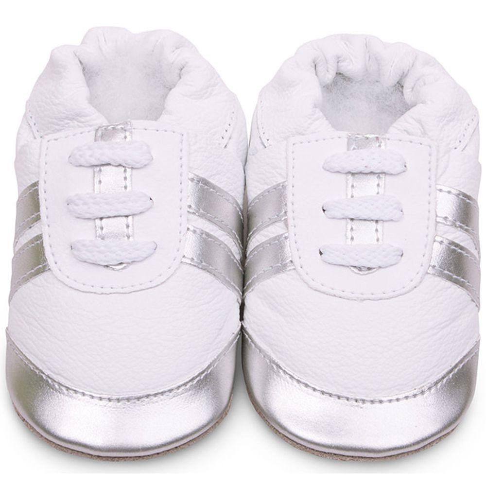 英國 shooshoos - 健康無毒真皮手工鞋/學步鞋/嬰兒鞋/室內鞋/室內保暖鞋-銀白運動型