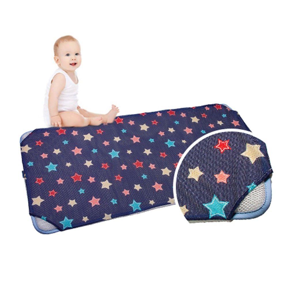 韓國 GIO Pillow - 智慧二合一有機棉超透氣排汗嬰兒床墊-夜晚星星 (L號)