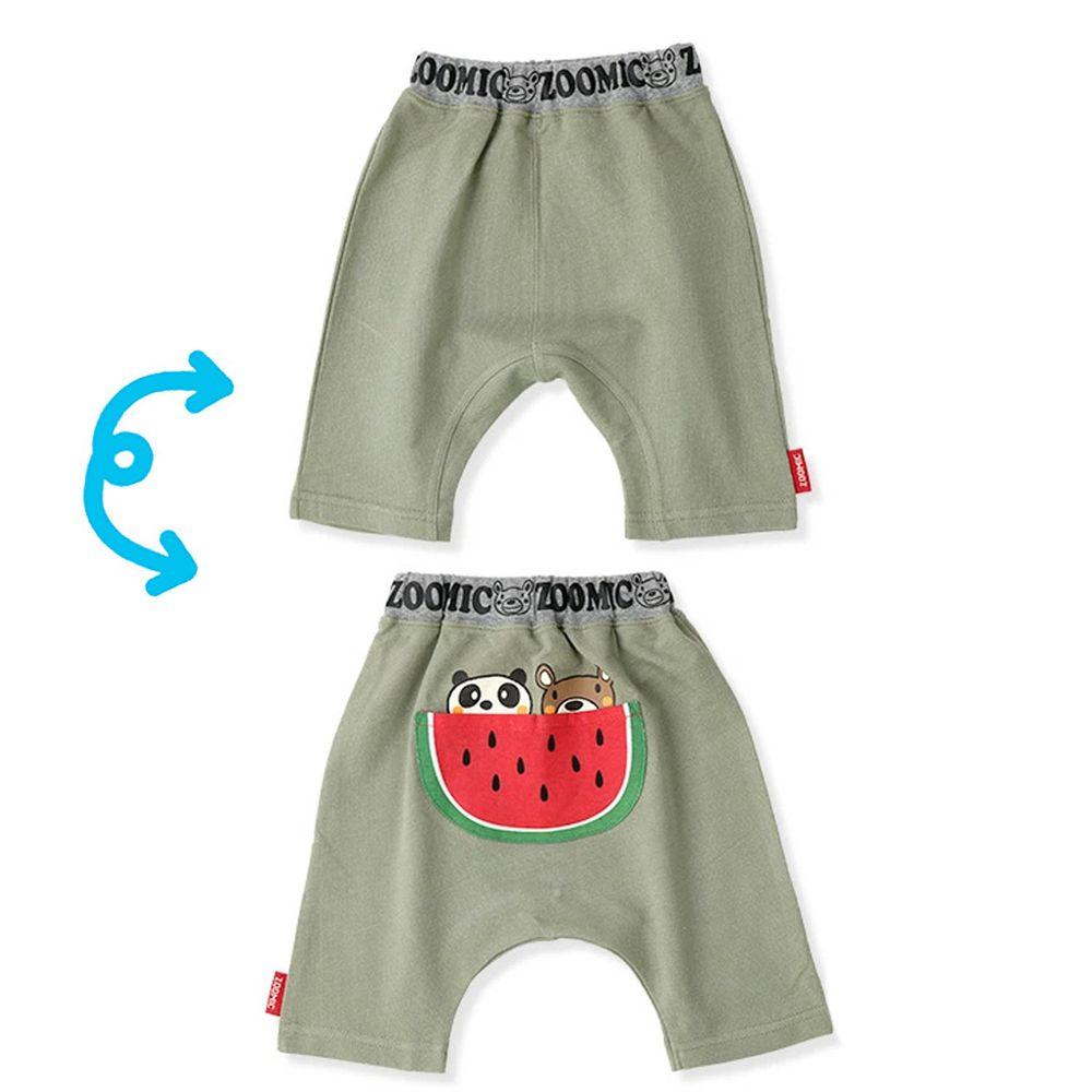 日本 ZOOLAND - 純棉動物屁屁五分褲-小熊熊貓吃西瓜-綠