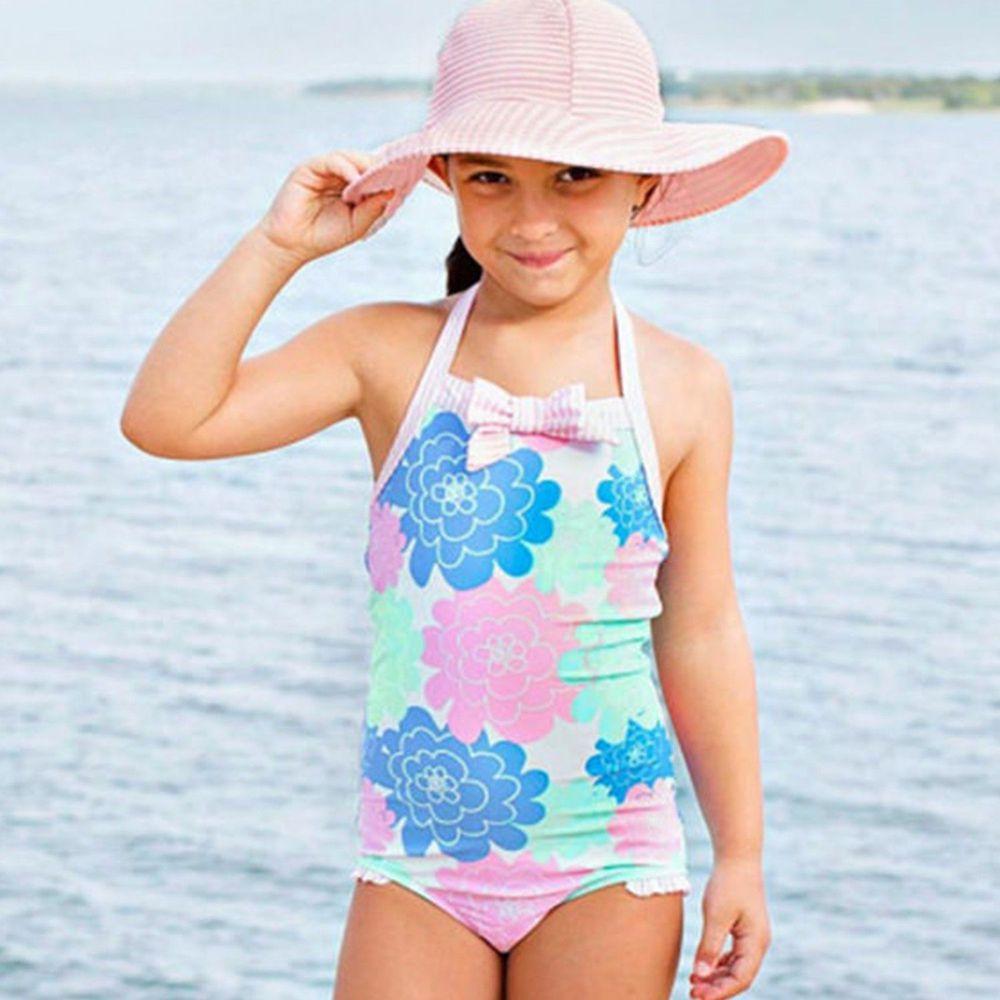 美國 RuffleButts - 小女童無袖連身泳裝-大花朵
