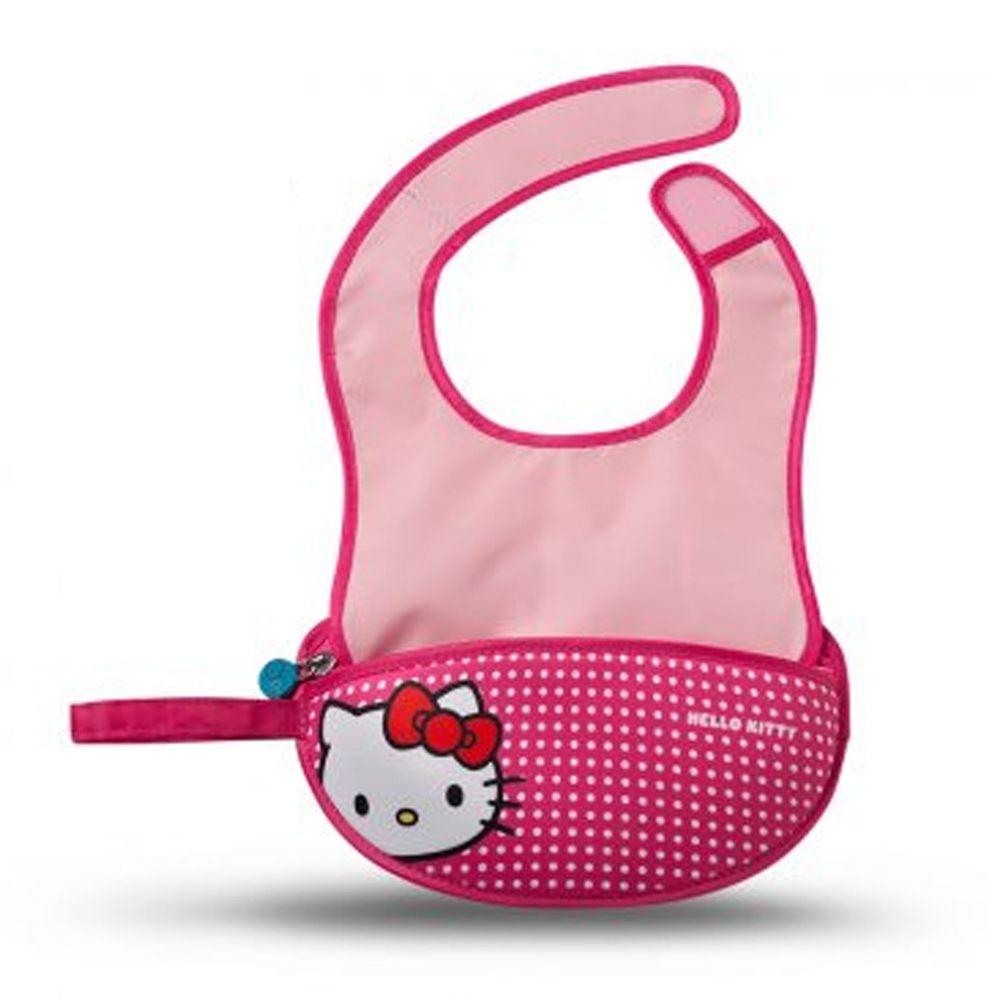 澳洲 b.box - Kitty旅行圍兜袋-桃紅-含矽膠軟湯匙*1