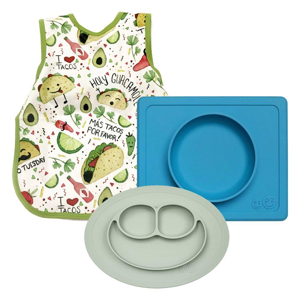 美國 ezpz - 組合:Happy mini mat 抹茶綠 + happy mini bowl 寶石藍+ BapronBaby圍兜裙  (繽紛響宴)