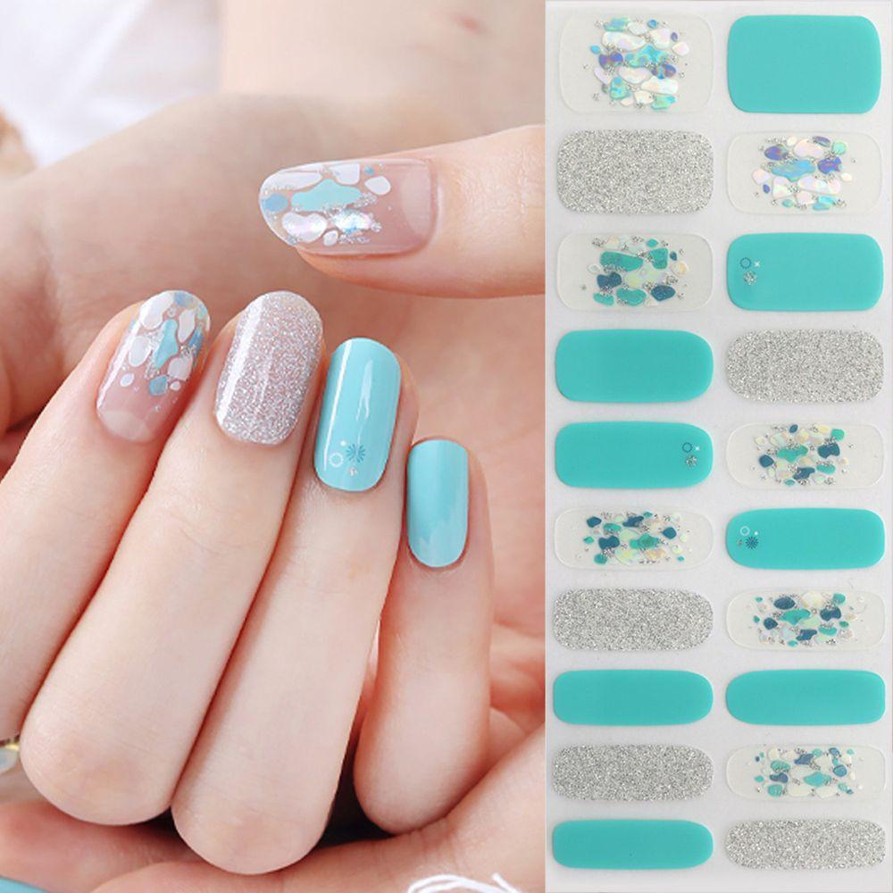 韓國 Glossy Blossom - 美甲貼-天藍鵝卵石-一張20貼+美甲貼磨甲棒