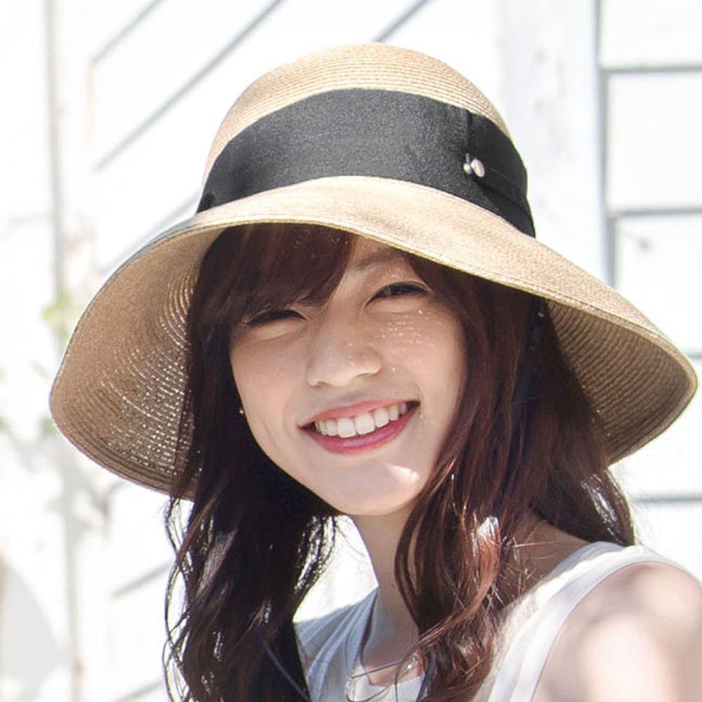 日本服飾代購 - 【irodori】抗UV可捲收 大緞帶遮陽草帽(附防風帽帶)-杏X黑緞帶