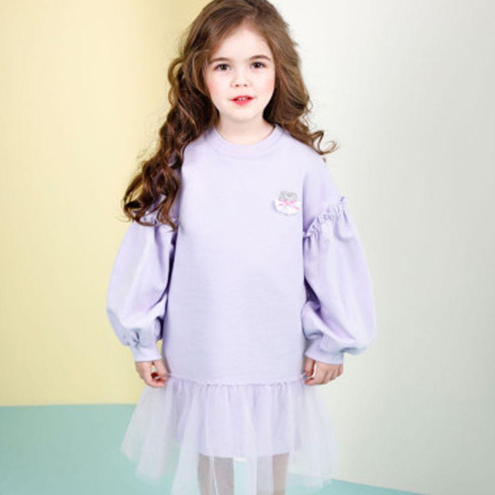 韓國 Jelispoon - 網紗拼接泡泡袖洋裝-淺紫