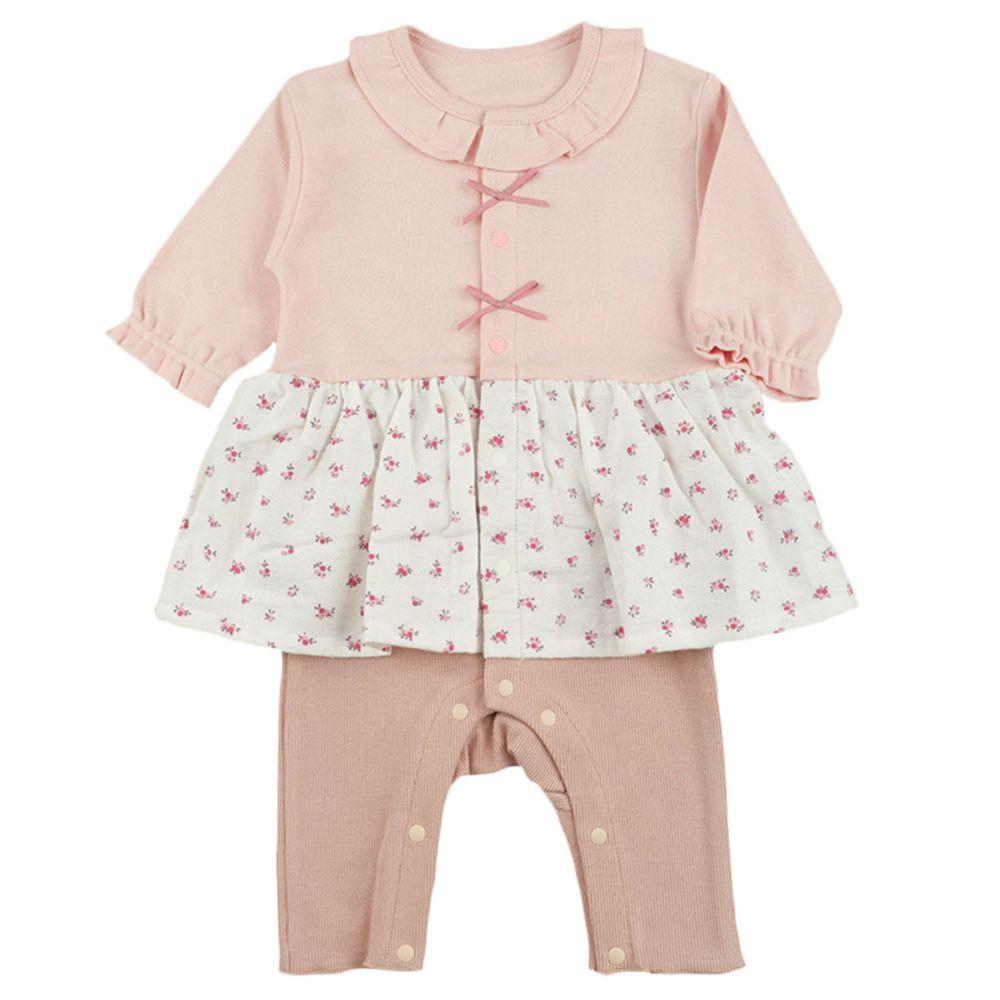 akachan honpo - 女長袖兔裝-假兩件-粉紅色