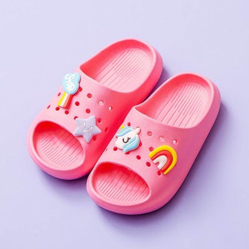 Cheerful Mario - 兒童洞洞拖鞋-玫紅