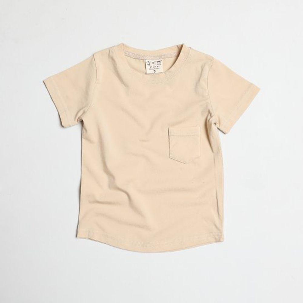 韓國製 - 水洗加工布口袋T-杏