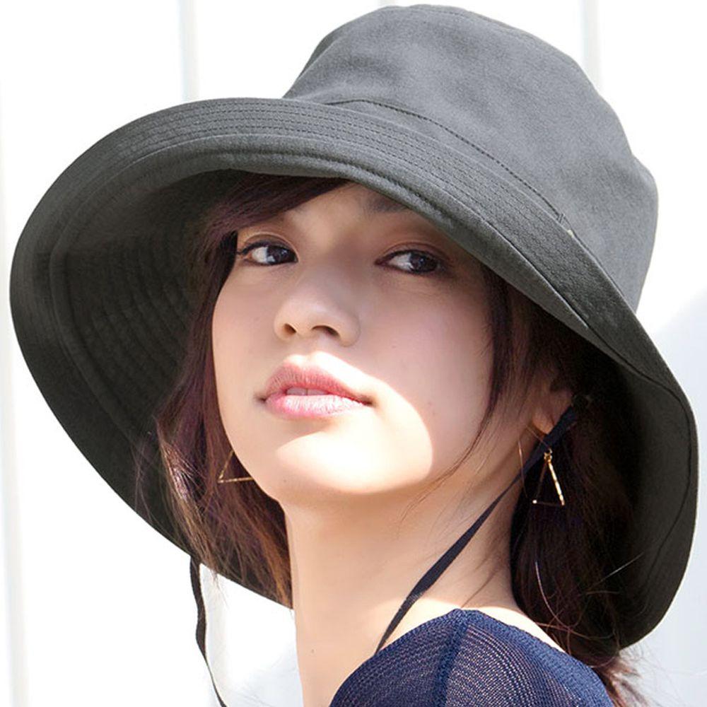 日本服飾代購 - 【irodori】抗UV可捲收遮陽帽(附防風帽帶)-深灰-純棉