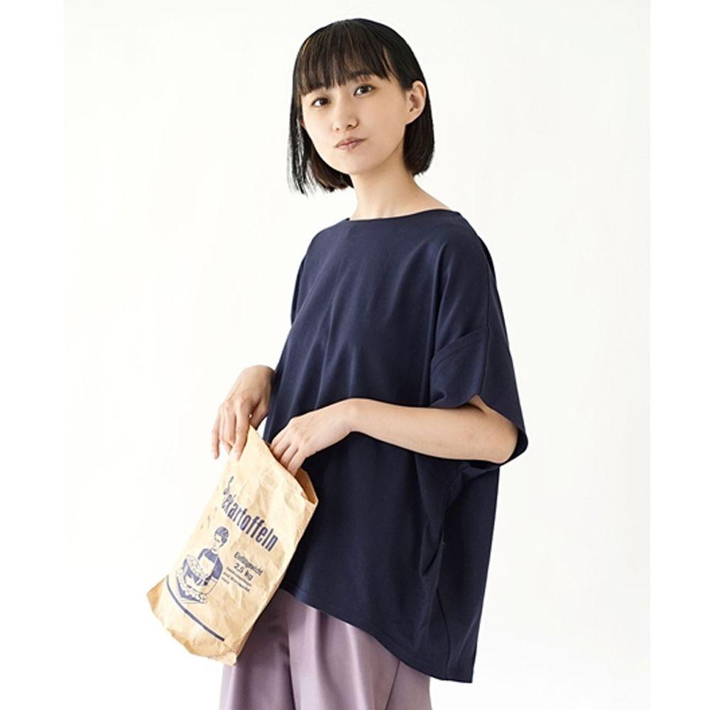 日本 zootie - Design+ 顯瘦立體感剪裁落肩五分袖上衣-深藍