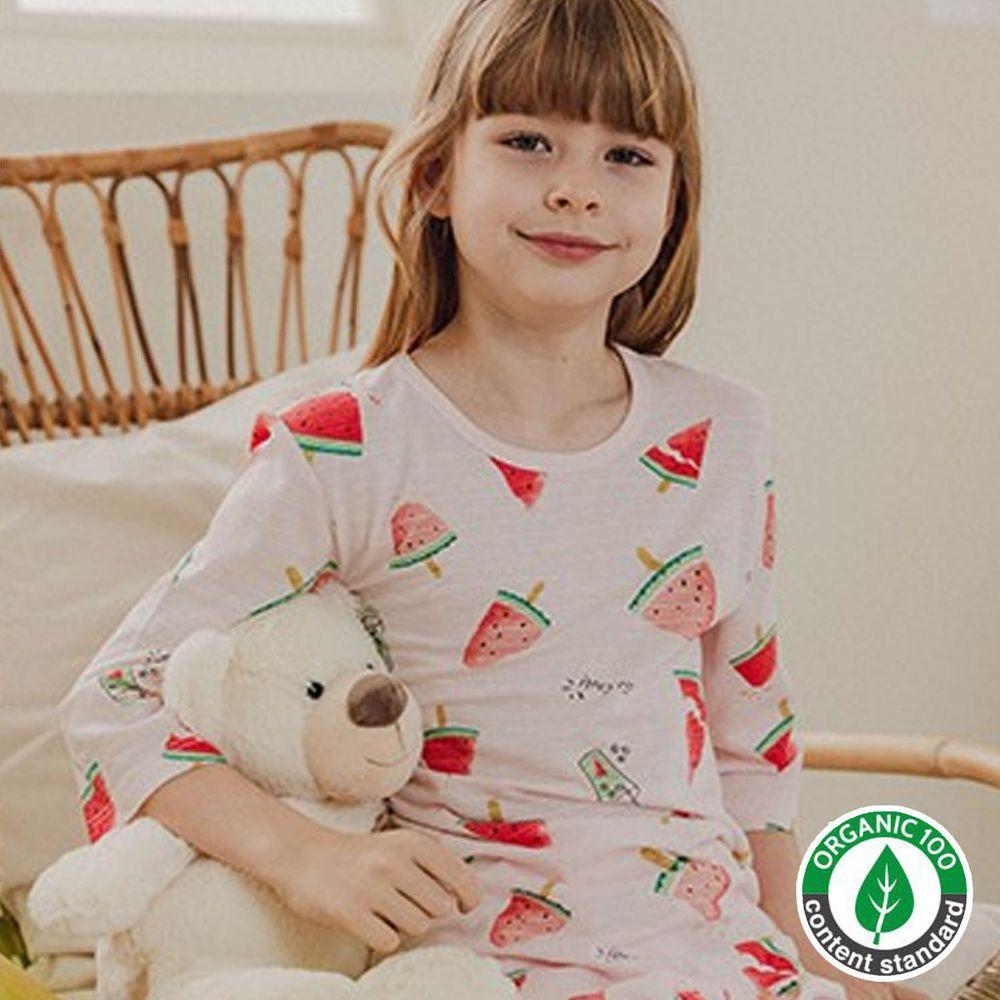 韓國 Mavarm Organic - 有機棉透氣七分袖家居服-夏日西瓜
