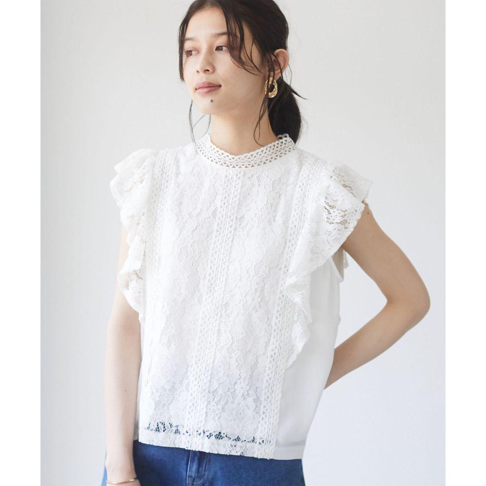 日本 ELENCARE DUE - 浪漫蕾絲無袖上衣-白