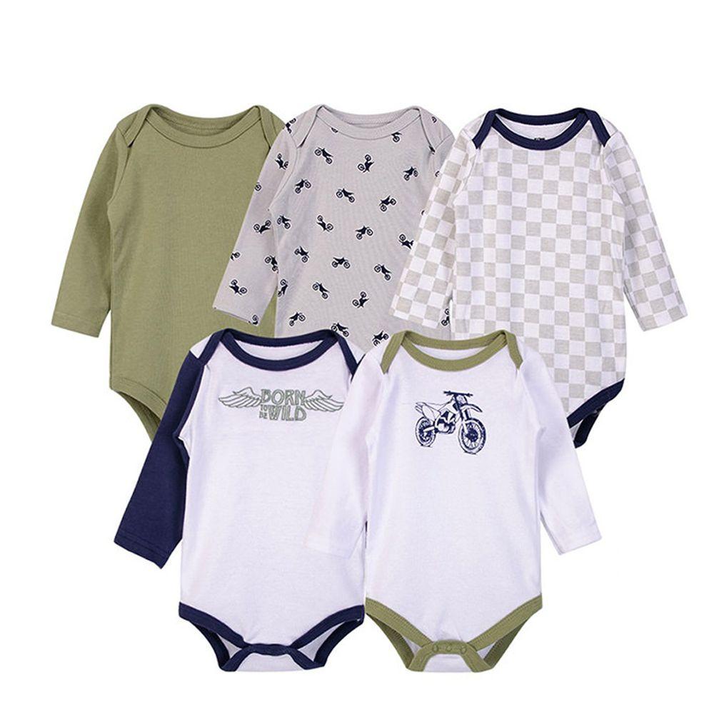 美國 Luvable Friends - 嬰幼兒100%純棉長袖包屁衣5件組-重機車